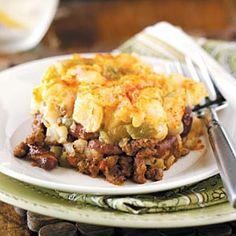 Beef potato and nacho casserole