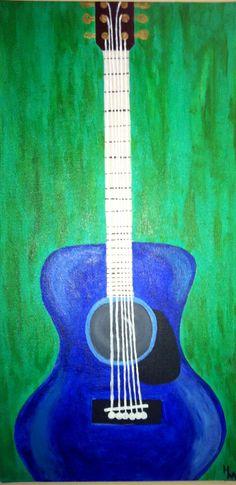 Original 12x24 'Six String' Painting by HaleyMcDanielFineArt, $125.00