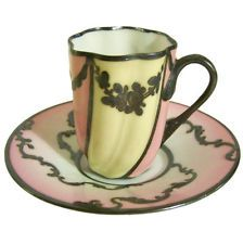 Paris Porcelain Sevres style DEMITASSE PINK YELLOW SILVER OVERLAY CUP & SAUCER