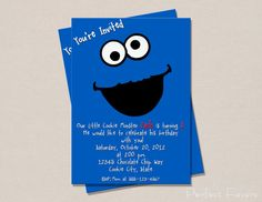Cookie Monster Invitation by PerfectFavors on Etsy, $5.00