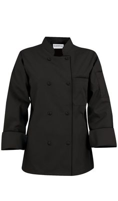 Basic Womens Chef Coats - Knotted Cloth Buttons - 100% Cotton by ChefUniforms.com $18.99 http://www.chefuniforms.com/chef-coats/womens-chef-coats/89.asp?frmcolor=black