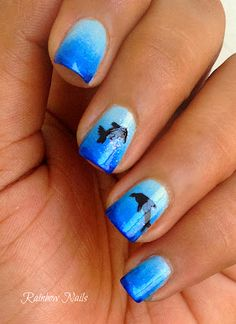 Gradient nails with dolphin. LOVE the colors--like an ocean!