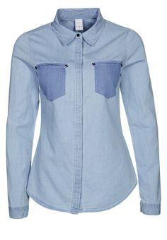 Stoere #denim #blouse met gekleurde #zakken van Vila @ Zalando