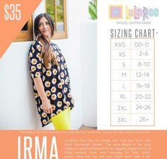 #irma #lularoe size chart