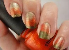 Gorgeous autumn ombré nails. Green, orange and gold.
