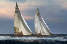 Tangletown Fine Art 'The Chase' by Xavier Ortega Photographic Print on Wrapped Canvas Sailboat Racing, Classic Sailing, Classic Yachts, Canadian Art, Framed Prints, Art Prints, Framed Wall, Coastal Art, Boat Plans