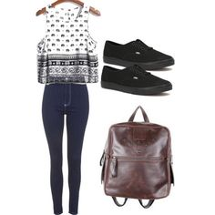 Second day of school outfit by madisenharris on Polyvore featuring Topshop, Vans and Murati