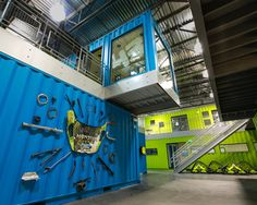 ken block's shipping container headquarters