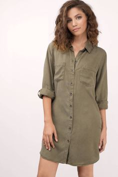 "Search: ""Thread & Supply Thread & Supply Better Days Olive Chambray Shirt Dress"" on Tobi.com now! Shirt dress army green distressed tunic rolled sleeves long sleeves 3/4 sleeve pocket front utility long straight hem shift collared casual outfit stylish trendy fashionable school work vacation travel capsule essential"