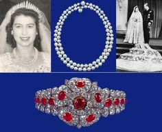 Queen Elizabeth also opted for pearls in 1947, wearing her mother's wedding necklace of two strands; one with fifty pearls and the other with 46; and her dress had a magnificent train! The ruby and diamond County of Cornwall bracelet was given to Elizabeth by Queen Mary as a wedding gift. The central flower is detachable and can be worn as a brooch.