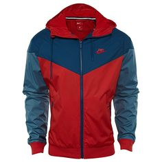 a1f063628540 NIKE Mens Windrunner Hooded Track Jacket University Red Blue Force  727324-658 Size Large