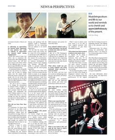 More than Music with Violinist Loh Jun Hong (Pg 3/3)--- (Epoch Times, Singapore Edition: Issue 493, Aug 22 – Sept 4, 2014)
