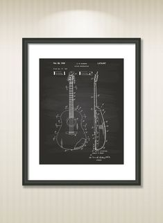 This reproduction was digitally restored and in some cases altered to remove defects or unwanted artifacts present in the original #patent document.  Buy more and save! Buy ... #patentart #art #print #gift #digital #download #instant #printable #vintage #guitar #musical #instrument