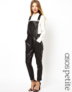 ASOS PETITE Exclusive Leather Dungarees