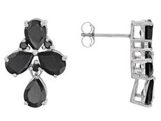 4.98ctw Pear Shape And Round Black Spinel Strling Silver 4-stone Dangl