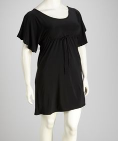 Take a look at this Black Plus-Size Cape-Sleeve Top by Star Vixen on #zulily today!