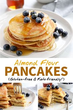 Eating Pancakes These are the BEST Almond Flour Pancakes! Made with just 5 main ingredients, they are easy to make and naturally gluten-free, grain free & Paleo. Leave out the maple syrup to make them low-carb and Keto friendly. Paleo Pancakes Almond Flour, No Flour Pancakes, Gluten Free Pancakes, Almond Flour Recipes, Gluten Free Breakfasts, Almond Flour Carbs, Pancake Recipe Using Almond Flour, Gluten Free Pancake Recipe Easy, Pancake Recipe For Diabetics