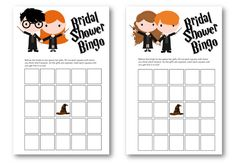 Harry Potter Bridal Shower Bingo by emilylovesprintables on Etsy
