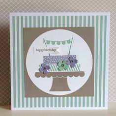 This card uses two of the new colours - Mint Macaroon and Tip-Top Taupe with an old favourite colour Wisteria Wonder (I really like this combination). The stamp set is a new one 'Build a Birthday' - created by Julia Jordan of Papercraftelegance.blogspot.co.uk