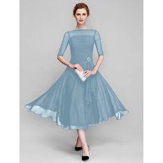 4d00c8b4ad LAN Ting Bride A-Line Bateau Neck Tea Length Chiffon Mother of The Bride  Dress