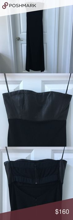 ALICE + OLIVIA Leather Bodice Strapless Dress Classic with a touch of edginess. This gorgeous full length dress features a genuine, soft leather bodice, open keyhole back with double zipper detail and slit on the left hand side that comes up to the low thigh. I have owned this dress for several years but only wore it twice, to two charity events. Perfect with strappy heels and a statement necklace for your next formal event! Alice + Olivia Dresses Strapless