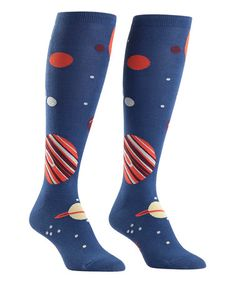 Another great find on #zulily! Blue Planets Knee-High Socks - Women #zulilyfinds