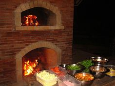 Outdoor Pizza oven fireplace.