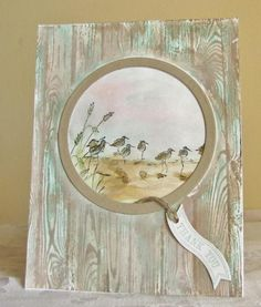 handmade card: By the Shore by meisu4  ... a round window through an old fence with a view of shorebirds ...  luv the coloring of the hardwood background stamp .. beautiful! ... Stampin'Up!