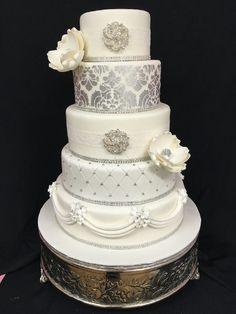 Wedding Cake with Silver Damask, Diamond Quilting and Sugar Magnolias