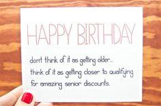 Funny Birthday Card - Senior Discounts. Bday Card. Funny Bday. Birthday Card. Happy Birthday.