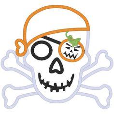 Halloween (A142) Pumpkin Skull Applique 6x10