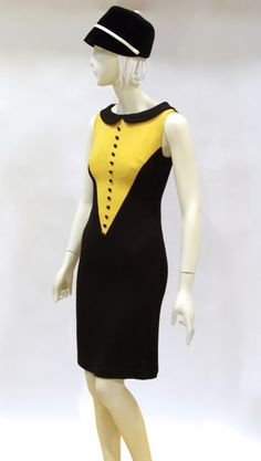 Dress, black and yellow wool in the English mod style, French label, c. 1964-1965, founder's collection
