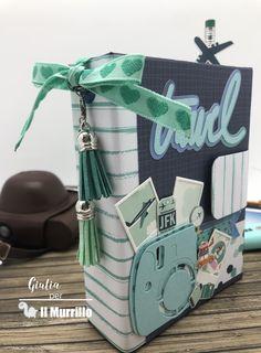 """Dalla nuova collezione """"Happy Moments"""" di Studiolight, nasce questo progetto della nostra Dt Giulia Cioli, di un bellissimo diario di viaggio, pronto per essere riempito Diaper Bag, Scrap, Album, Blog, Daily Journal, Diaper Bags, Tat"""