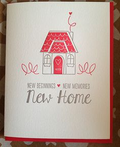 New Home Card Housewarming Card Letterpress New home by jdeluce, $5.50