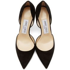 Jimmy Choo Black Suede Addison DOrsay Heels ($595) ❤ liked on Polyvore featuring shoes, pumps, heels, suede shoes, black suede shoes, pointy-toe pumps, black shoes and pointed toe d orsay pumps