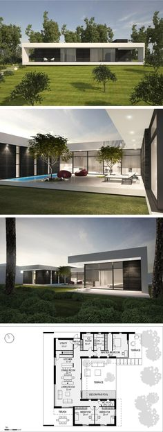 modern vila in Vilnius by NG architects www.lt Interesting floor plan but still like it Modern House Plans, Modern House Design, Modern Floor Plans, U Shaped House Plans, Modern House Floor Plans, Villa Design, Contemporary Architecture, Architecture Design, Contemporary Garden
