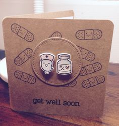 Get Well Soon card. Made using Lawn Fawn's stamp and coordinating die set - so cute!!