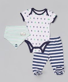 Loving this White & Navy Stripe Footie Pants Set - Infant on #zulily! #zulilyfinds