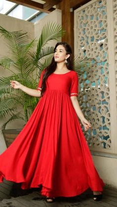 Indian Gowns Dresses, Indian Fashion Dresses, Indian Designer Outfits, Designer Dresses, Designer Kurtis, Red Fashion, Ethnic Fashion, Designer Wear, Indian Outfits