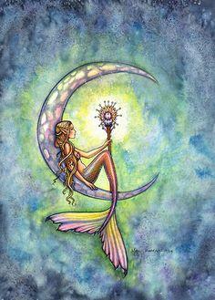 """Mermaid Moon"" Mermaid Art by Molly Harrison by Molly Harrison"