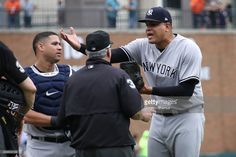 Dellin Betances of the New York Yankees reacts to being ejected from the game by umpire Dana DeMuth after hitting James McCann of the Detroit Tigers in the head with a pitch in the seventh inning at Comerica Park on August 2017 in Detroit, Michigan. Old Timers Day, Joe Torre, Detroit Tigers, Detroit Michigan, Gary Sanchez, Tigers Baseball, Toronto Blue Jays, New York Yankees, Mlb 2017