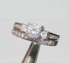 White Topaz Engagement Wedding Set Free Shipping No Fees $25.00