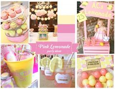 Pink lemonade party ideas and inspiration, pink and yellow  birthday or bridal shower theme   #pink  #yellow  #pinklemonade  #firstbirthday  #partyideas