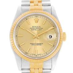 3f95927ada2 18364 Rolex Datejust 36 Steel 18K Yellow Gold Mens Watch 16233 Box Papers  SwissWatchExpo Swiss Luxury