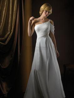 Column One Shoulder Sleeveless Zipper White/Ivory Crepe Chiffon Beadwork Embroidery Chapel Train Dress