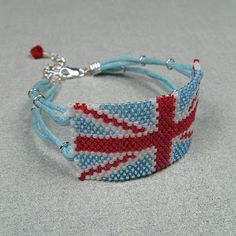 Union Jack bracelet in peyote stitch using Delicas and waxed cotton cord.