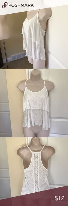 Super cute layered top lace hem back S Adorable top - worn once euc - adj. strap bought at Nordstrom. Ivory. Pit to pit is approx 15/16 in; shoulder to hem approx. 18front, 21 back. Super soft and stretchy and comfy. 100% rayon Band of Gypsies Tops Blouses