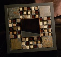 Small wall mirror mosaic tiles black frame by MosaicMeditations