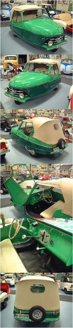 1957 David cyclecar. Manufactured by David S.A., Barcelona,Spain.Powered by a 345 cc 1 cylinder 2 stroke engine with max speed of 55mph. The motor was mounted behind, and turned with, the front wheel, which was in turn suspended on an amazing three-quarter-elliptic leaf spring.