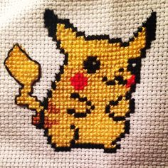 Pikachu #pokemon #pikachu #crossstitch